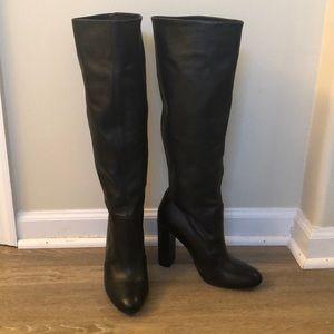 Steve Madden black leather knee boots